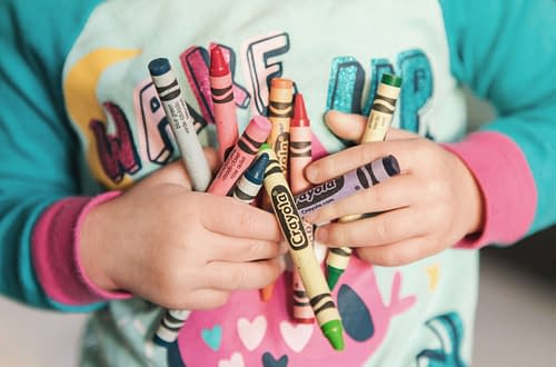 Crayon Crafts Toddler Holding Crayons